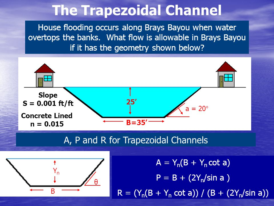 The Trapezoidal Channel House flooding occurs along Brays Bayou when water overtops the banks. What flow is allowable in Brays Bayou if it has the geo