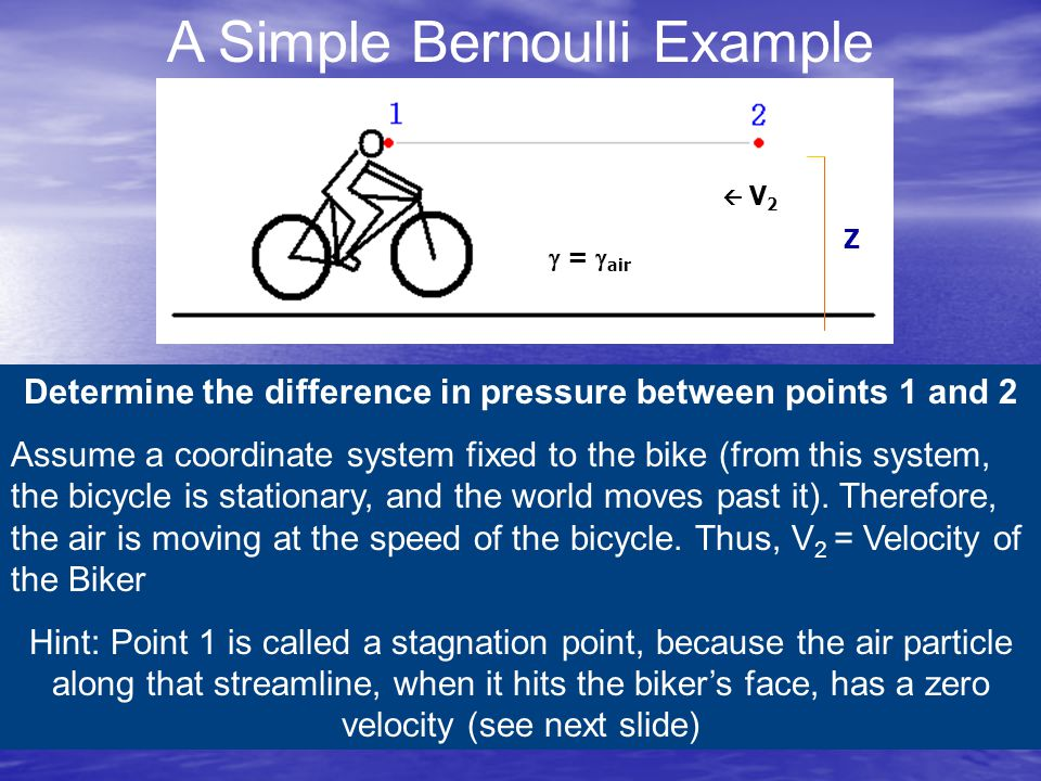 A Simple Bernoulli Example  V 2 Z  =  air Determine the difference in pressure between points 1 and 2 Assume a coordinate system fixed to the bike