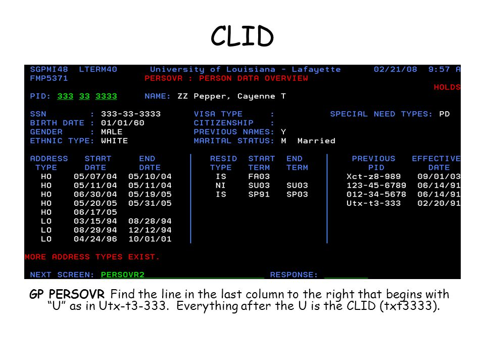 CLID GP PERSOVR Find the line in the last column to the right that begins with U as in Utx-t3-333.