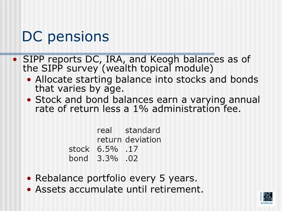 DC pensions SIPP reports DC, IRA, and Keogh balances as of the SIPP survey (wealth topical module) Allocate starting balance into stocks and bonds that varies by age.