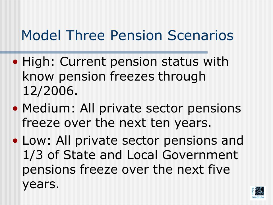 Model Three Pension Scenarios High: Current pension status with know pension freezes through 12/2006.