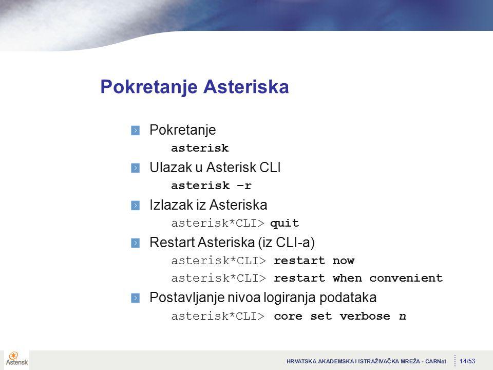 14/53 Pokretanje Asteriska Pokretanje asterisk Ulazak u Asterisk CLI asterisk –r Izlazak iz Asteriska asterisk*CLI> quit Restart Asteriska (iz CLI-a) asterisk*CLI> restart now asterisk*CLI> restart when convenient Postavljanje nivoa logiranja podataka asterisk*CLI> core set verbose n