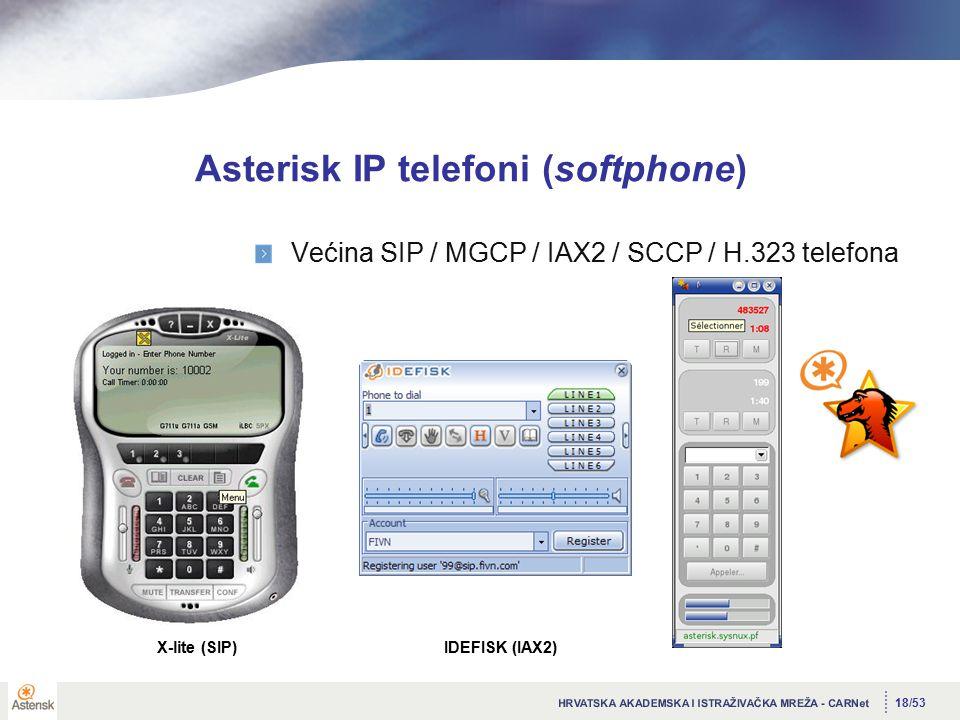 18/53 Asterisk IP telefoni (softphone) Većina SIP / MGCP / IAX2 / SCCP / H.323 telefona X-lite (SIP)IDEFISK (IAX2)