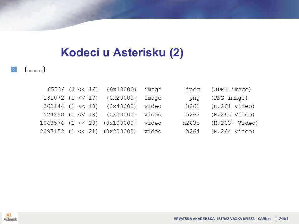 24/53 Kodeci u Asterisku (2) (...) 65536 (1 << 16) (0x10000) image jpeg (JPEG image) 131072 (1 << 17) (0x20000) image png (PNG image) 262144 (1 << 18) (0x40000) video h261 (H.261 Video) 524288 (1 << 19) (0x80000) video h263 (H.263 Video) 1048576 (1 << 20) (0x100000) video h263p (H.263+ Video) 2097152 (1 << 21) (0x200000) video h264 (H.264 Video)