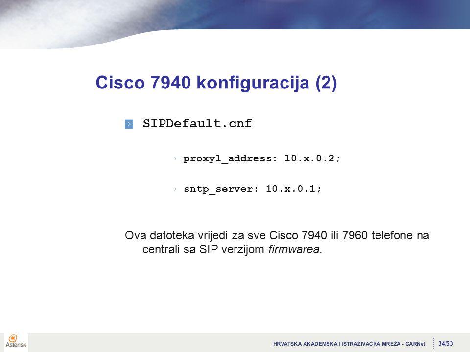 34/53 Cisco 7940 konfiguracija (2) SIPDefault.cnf proxy1_address: 10.x.0.2; sntp_server: 10.x.0.1; Ova datoteka vrijedi za sve Cisco 7940 ili 7960 telefone na centrali sa SIP verzijom firmwarea.
