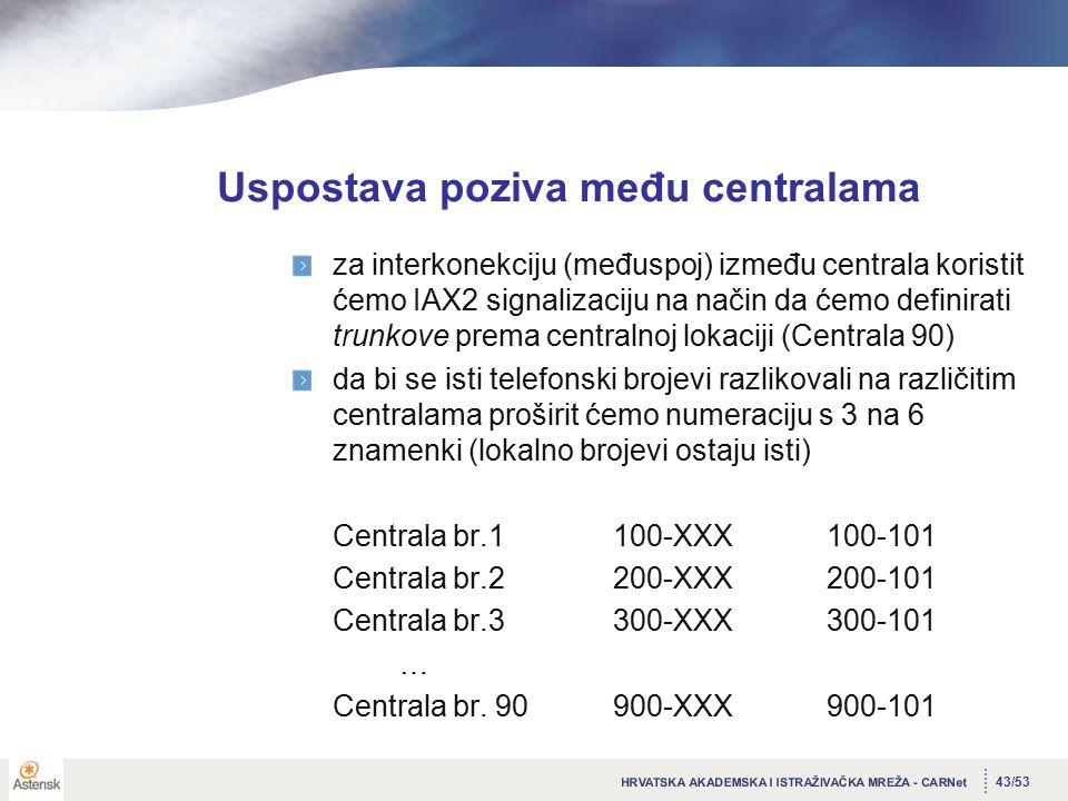 43/53 Uspostava poziva među centralama za interkonekciju (međuspoj) između centrala koristit ćemo IAX2 signalizaciju na način da ćemo definirati trunkove prema centralnoj lokaciji (Centrala 90) da bi se isti telefonski brojevi razlikovali na različitim centralama proširit ćemo numeraciju s 3 na 6 znamenki (lokalno brojevi ostaju isti) Centrala br.1100-XXX100-101 Centrala br.2200-XXX200-101 Centrala br.3300-XXX300-101 … Centrala br.