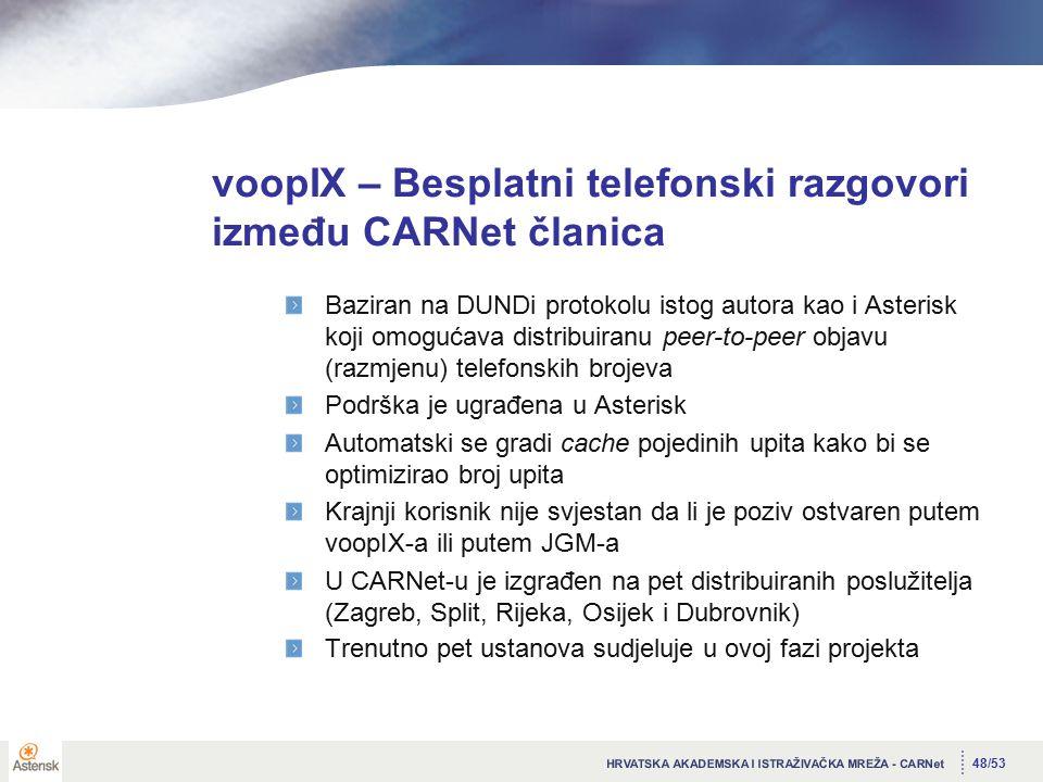 48/53 voopIX – Besplatni telefonski razgovori između CARNet članica Baziran na DUNDi protokolu istog autora kao i Asterisk koji omogućava distribuiranu peer-to-peer objavu (razmjenu) telefonskih brojeva Podrška je ugrađena u Asterisk Automatski se gradi cache pojedinih upita kako bi se optimizirao broj upita Krajnji korisnik nije svjestan da li je poziv ostvaren putem voopIX-a ili putem JGM-a U CARNet-u je izgrađen na pet distribuiranih poslužitelja (Zagreb, Split, Rijeka, Osijek i Dubrovnik) Trenutno pet ustanova sudjeluje u ovoj fazi projekta