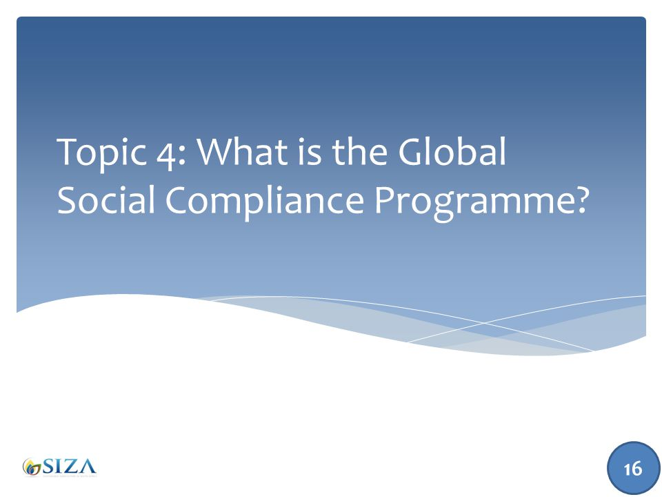 Topic 4: What is the Global Social Compliance Programme? 16
