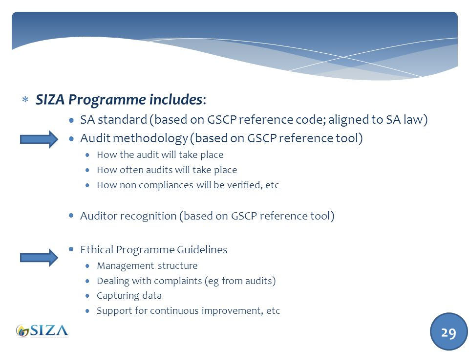 29  SIZA Programme includes:  SA standard (based on GSCP reference code; aligned to SA law)  Audit methodology (based on GSCP reference tool)  How the audit will take place  How often audits will take place  How non-compliances will be verified, etc  Auditor recognition (based on GSCP reference tool)  Ethical Programme Guidelines  Management structure  Dealing with complaints (eg from audits)  Capturing data  Support for continuous improvement, etc