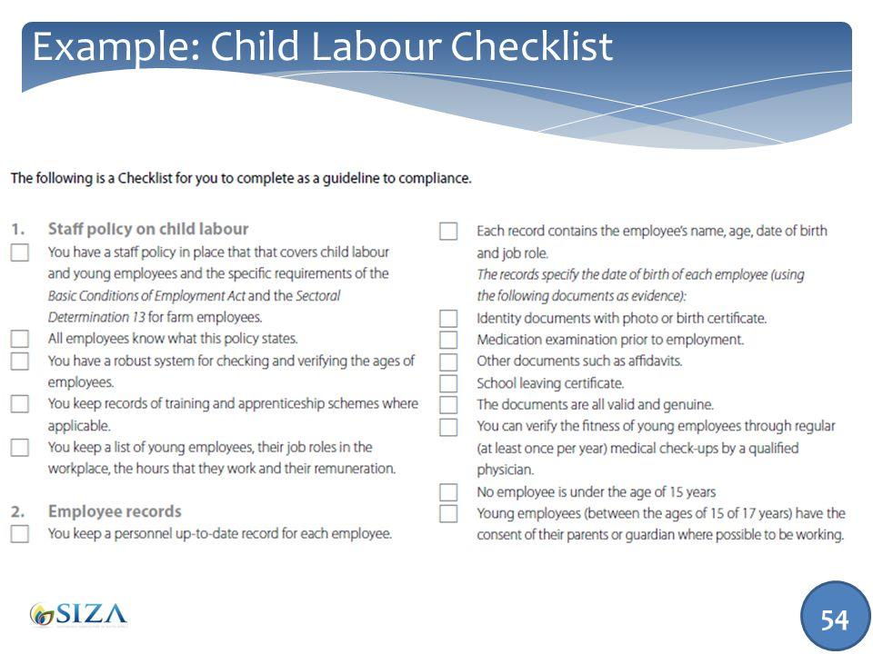 54 Example: Child Labour Checklist