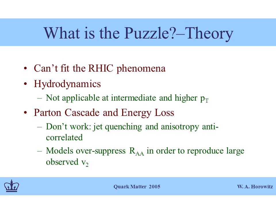 W. A. Horowitz Quark Matter 2005 What is the Puzzle?–Theory Can't fit the RHIC phenomena Hydrodynamics –Not applicable at intermediate and higher p T