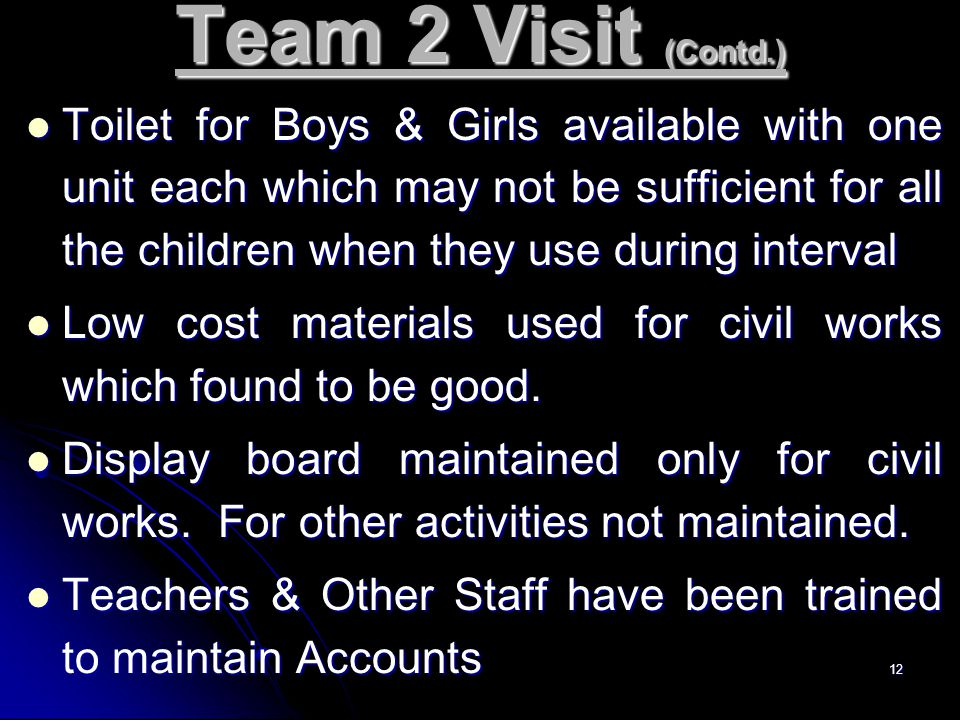 12 Team 2 Visit (Contd.) Toilet for Boys & Girls available with one unit each which may not be sufficient for all the children when they use during in