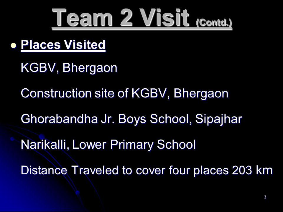 3 Team 2 Visit (Contd.) Places Visited Places Visited KGBV, Bhergaon Construction site of KGBV, Bhergaon Ghorabandha Jr.
