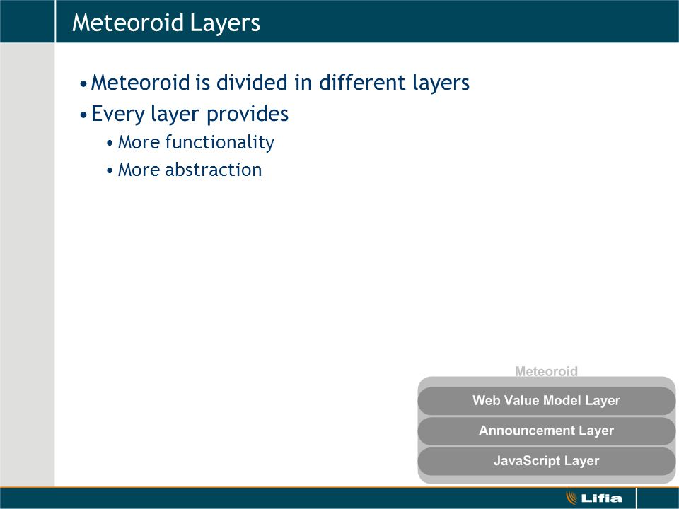 Meteoroid Layers Meteoroid is divided in different layers Every layer provides More functionality More abstraction