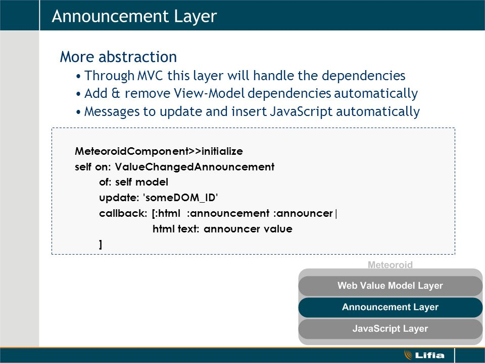Announcement Layer More abstraction Through MVC this layer will handle the dependencies Add & remove View-Model dependencies automatically Messages to update and insert JavaScript automatically MeteoroidComponent>>initialize self on: ValueChangedAnnouncement of: self model update: someDOM_ID callback: [:html :announcement :announcer| html text: announcer value ]