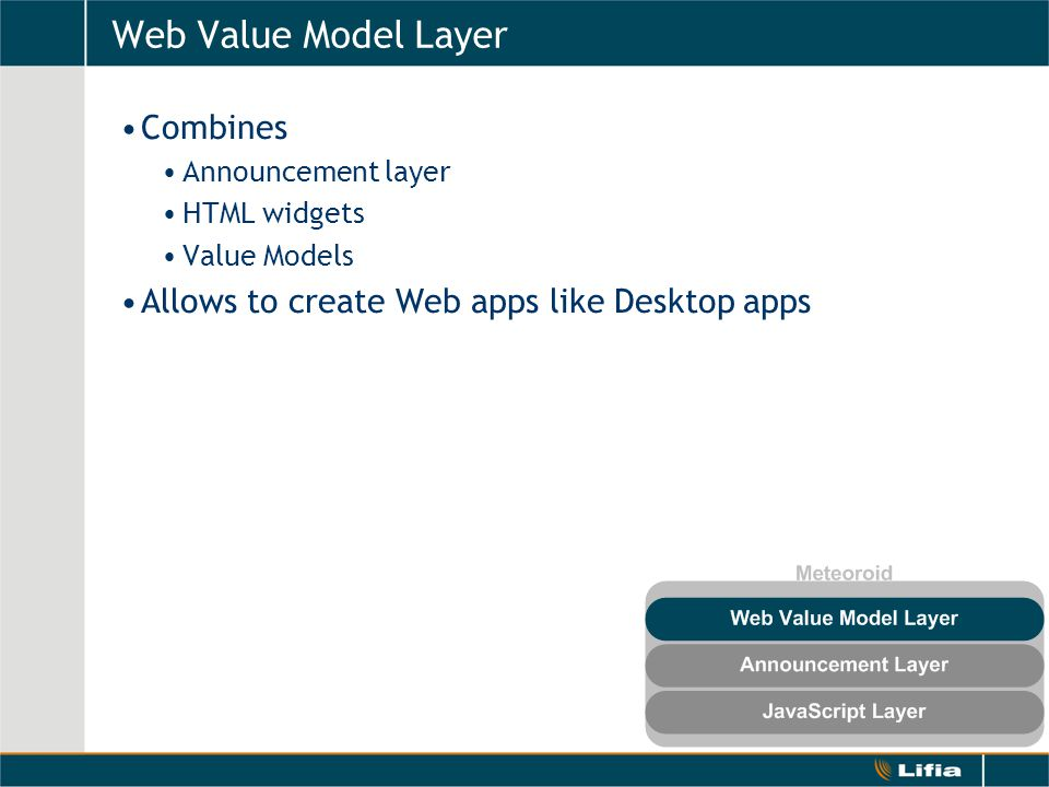 Web Value Model Layer Combines Announcement layer HTML widgets Value Models Allows to create Web apps like Desktop apps