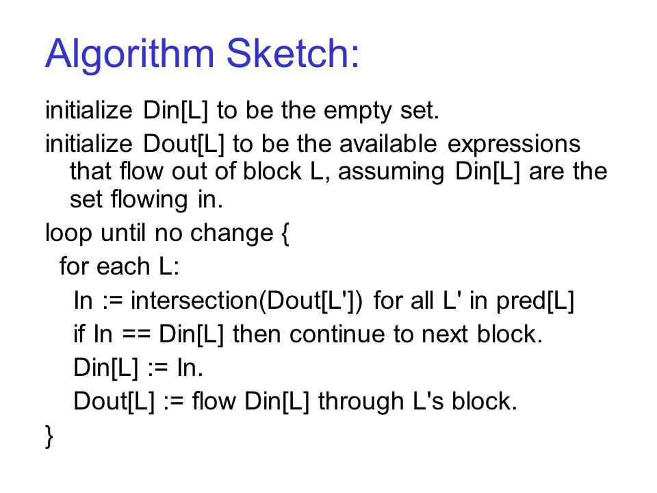 Algorithm Sketch: initialize Din[L] to be the empty set.