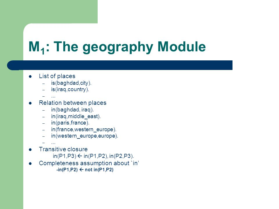 M 1 : The geography Module List of places – is(baghdad,city).