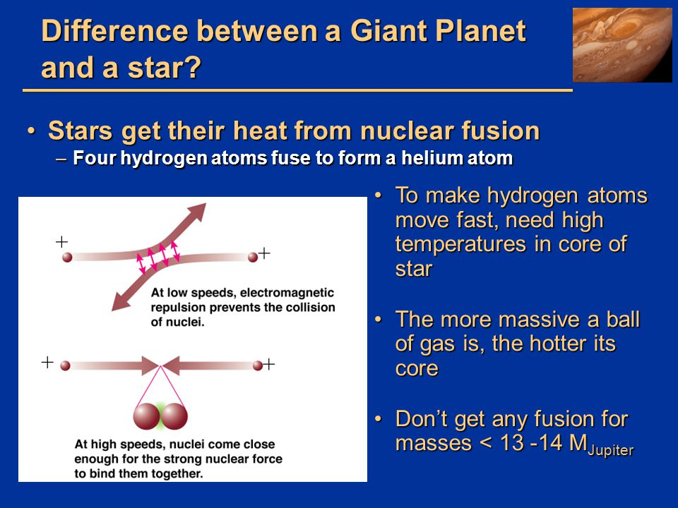 Difference between a Giant Planet and a star? Stars get their heat from nuclear fusionStars get their heat from nuclear fusion –Four hydrogen atoms fu