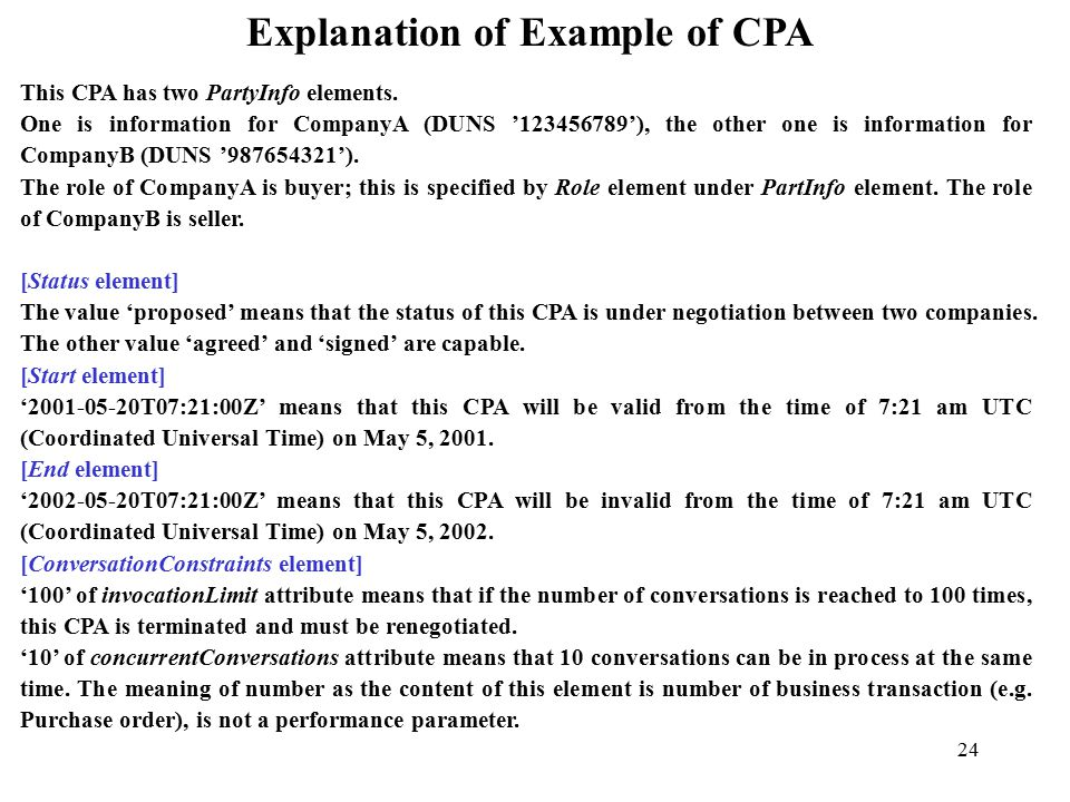 24 Explanation of Example of CPA This CPA has two PartyInfo elements.