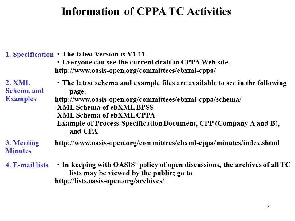 5 Information of CPPA TC Activities 1. Specification 2.