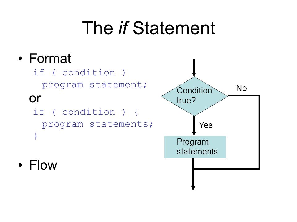 The if Statement Format if ( condition ) program statement; or if ( condition ) { program statements; } Flow Condition true.