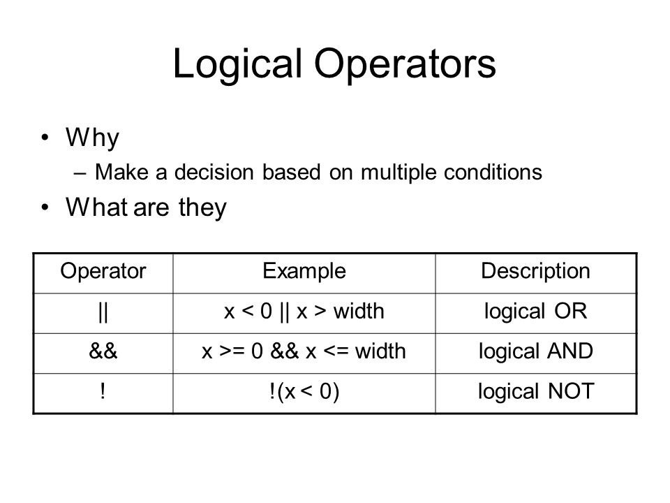 Logical Operators Why –Make a decision based on multiple conditions What are they OperatorExampleDescription ||x widthlogical OR &&x >= 0 && x <= widthlogical AND !!(x < 0)logical NOT