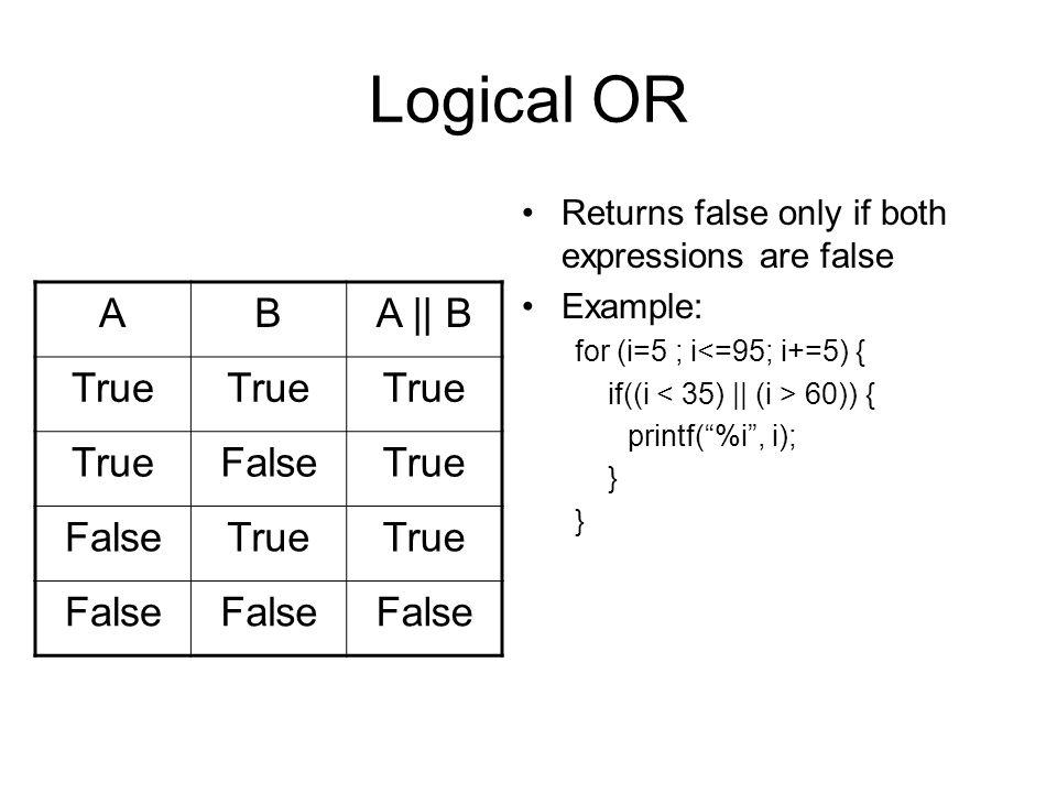 Logical AND Returns true only if both expressions are true Example: for (i=5 ; i<=95; i+=5) { if((i > 35) && (i < 60)) { printf( %i , i); } ABA && B True False TrueFalse