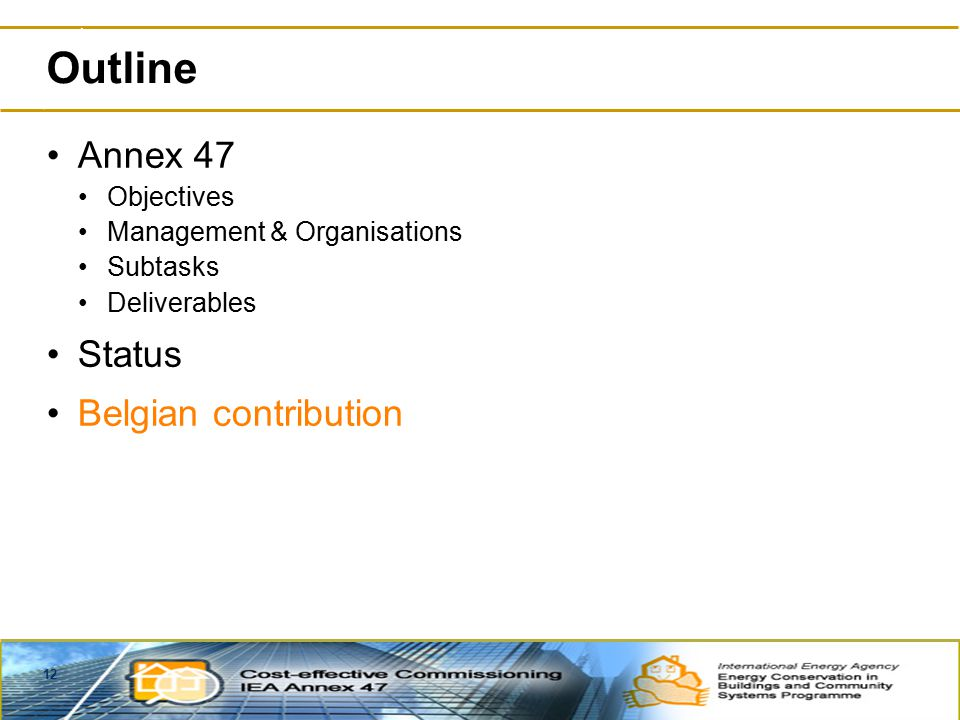 12 Outline Annex 47 Objectives Management & Organisations Subtasks Deliverables Status Belgian contribution