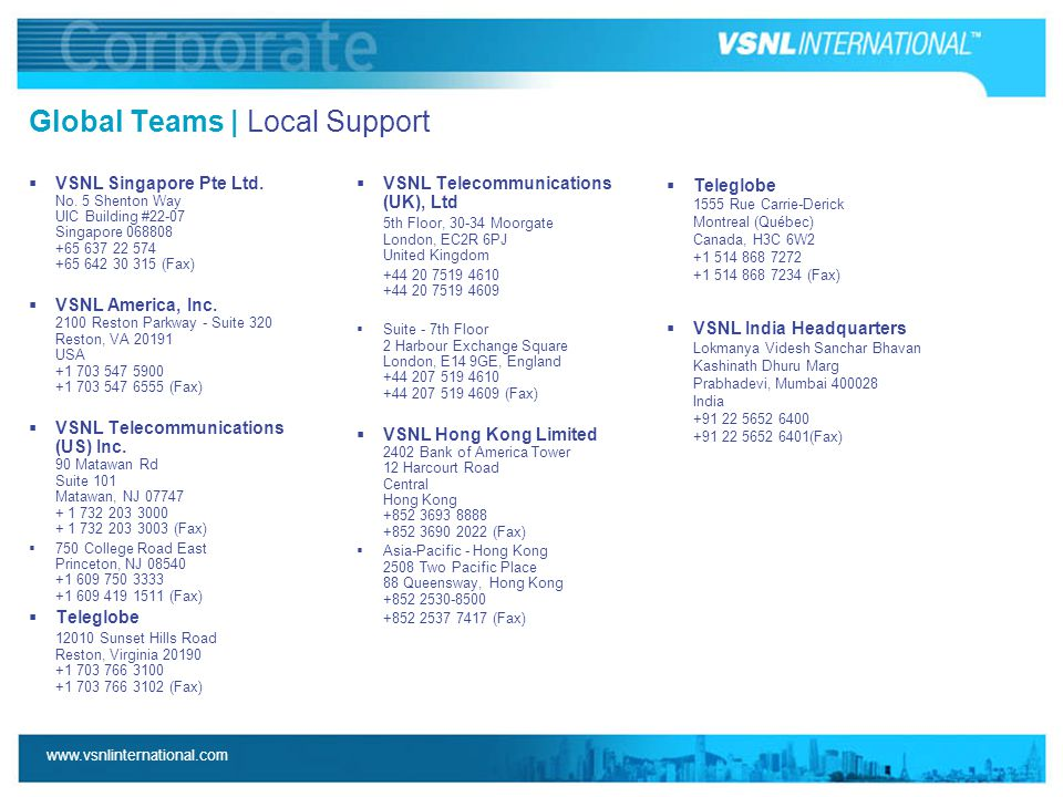 www.vsnlinternational.com Global Teams | Local Support  VSNL Singapore Pte Ltd. No. 5 Shenton Way UIC Building #22-07 Singapore 068808 +65 637 22 574