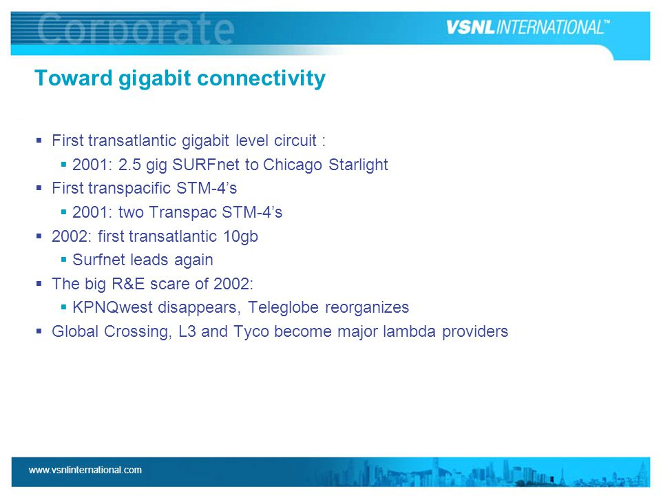www.vsnlinternational.com Toward gigabit connectivity  First transatlantic gigabit level circuit :  2001: 2.5 gig SURFnet to Chicago Starlight  Fir