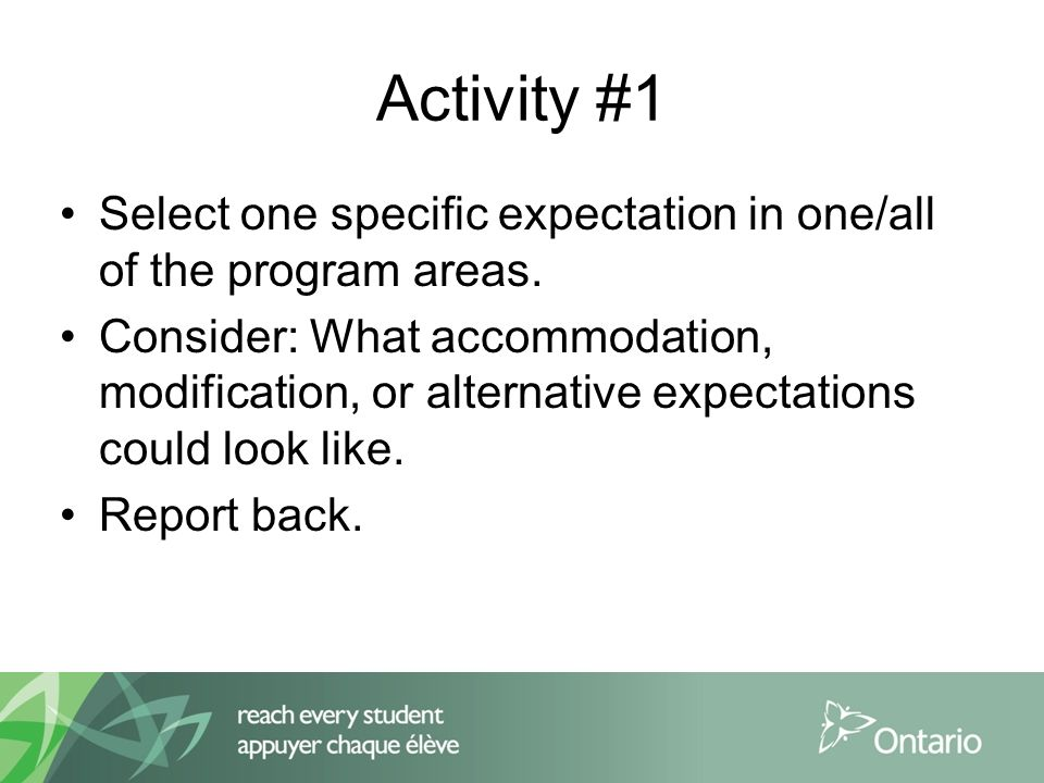 Activity #1 Select one specific expectation in one/all of the program areas.