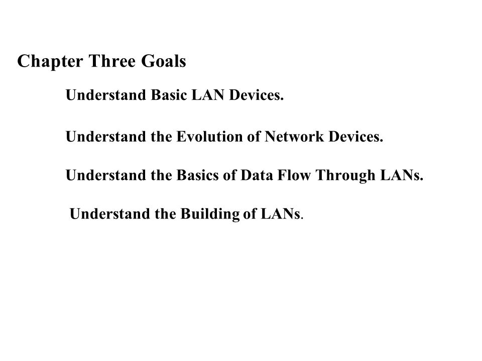 Chapter Three Goals Understand Basic LAN Devices. Understand the Evolution of Network Devices.