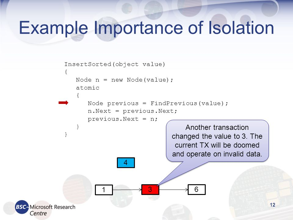 Example Importance of Isolation 12 InsertSorted(object value) { Node n = new Node(value); atomic { Node previous = FindPrevious(value); n.Next = previous.Next; previous.Next = n; } 1 36 4 Another transaction changed the value to 3.