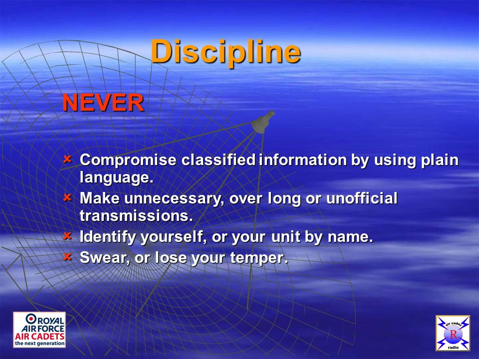Discipline NEVER  Compromise classified information by using plain language.