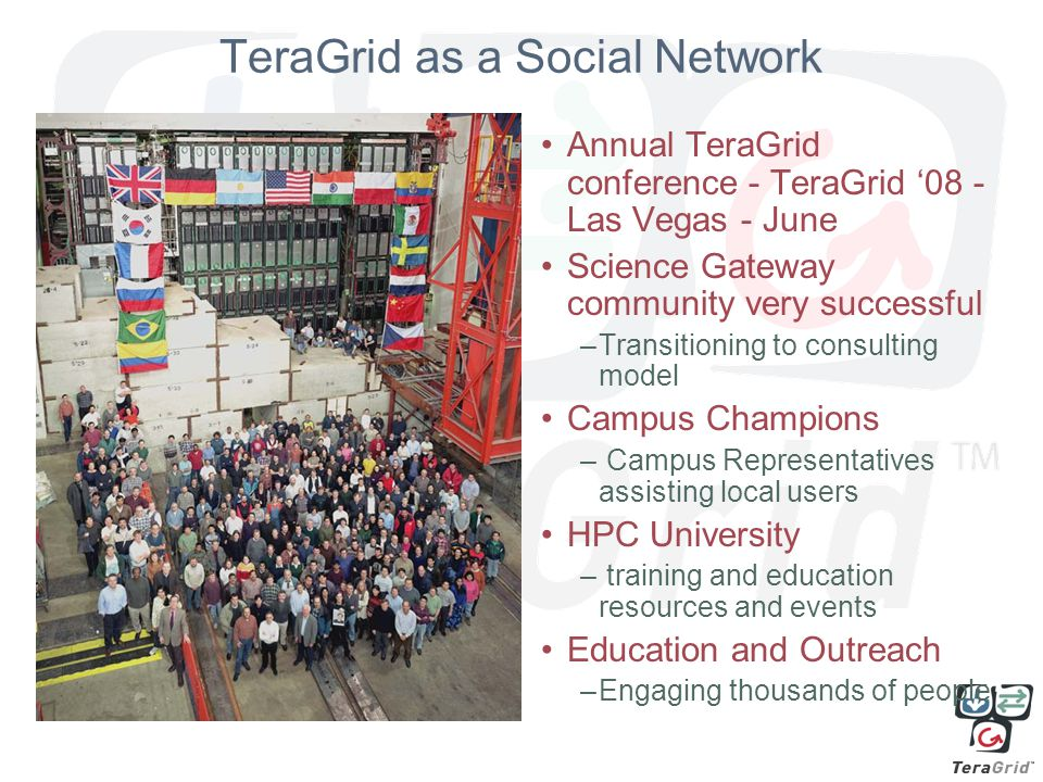 TeraGrid as a Social Network Annual TeraGrid conference - TeraGrid '08 - Las Vegas - June Science Gateway community very successful –Transitioning to consulting model Campus Champions – Campus Representatives assisting local users HPC University – training and education resources and events Education and Outreach –Engaging thousands of people