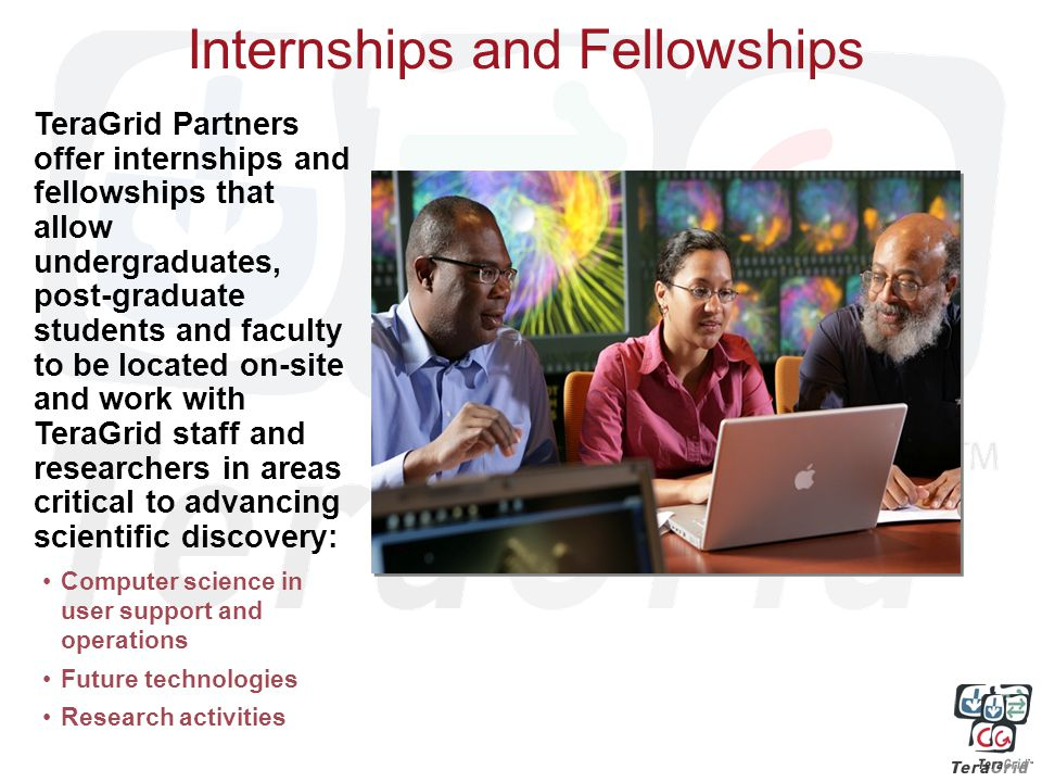 Internships and Fellowships Computer science in user support and operations Future technologies Research activities TeraGrid Partners offer internships and fellowships that allow undergraduates, post-graduate students and faculty to be located on-site and work with TeraGrid staff and researchers in areas critical to advancing scientific discovery: