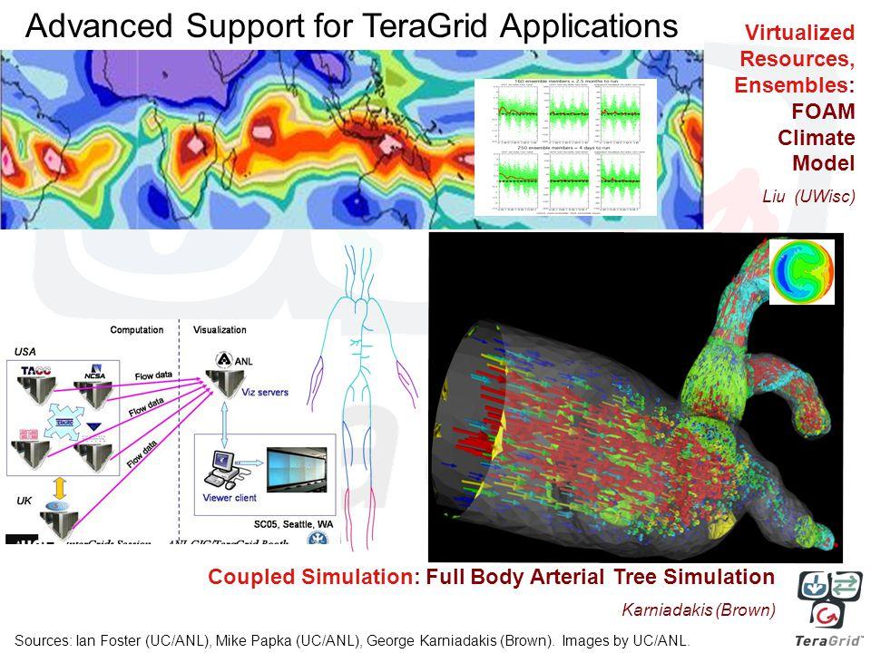 Coupled Simulation: Full Body Arterial Tree Simulation Karniadakis (Brown) Virtualized Resources, Ensembles: FOAM Climate Model Liu (UWisc) Sources: Ian Foster (UC/ANL), Mike Papka (UC/ANL), George Karniadakis (Brown).
