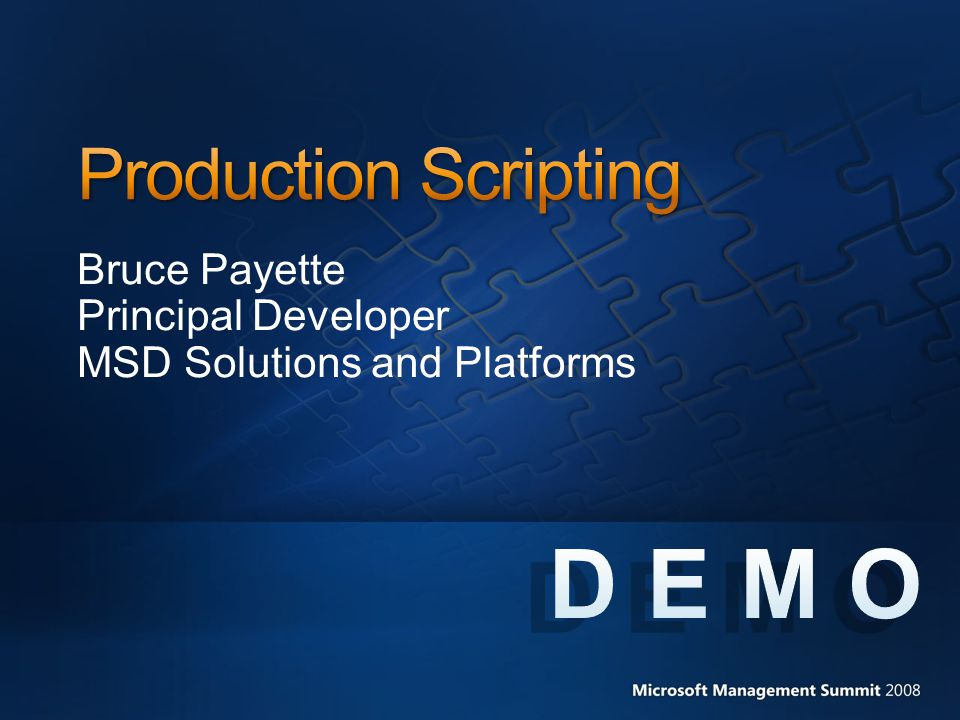 Bruce Payette Principal Developer MSD Solutions and Platforms