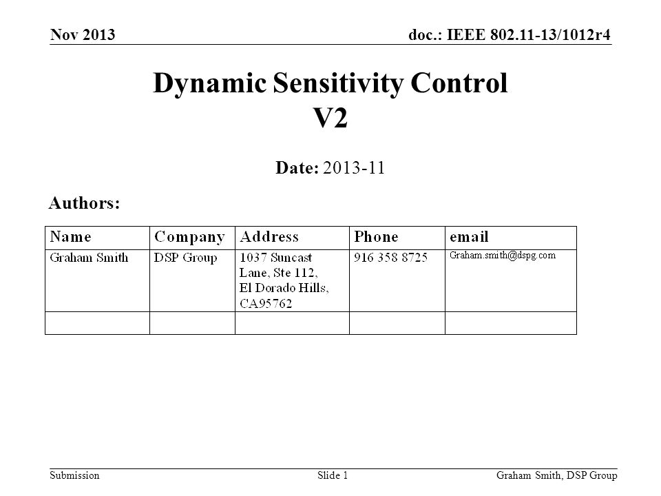 doc.: IEEE 802.11-13/1012r4 Submission Nov 2013 Dynamic Sensitivity Control V2 Date: 2013-11 Authors: Graham Smith, DSP GroupSlide 1