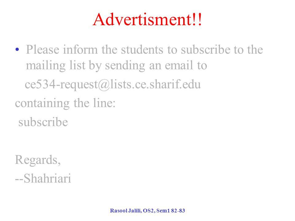 Rasool Jalili, OS2, Sem1 82-83 Advertisment!.