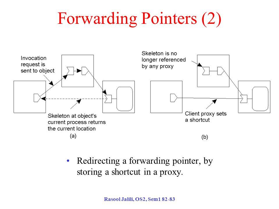 Rasool Jalili, OS2, Sem1 82-83 Forwarding Pointers (2) Redirecting a forwarding pointer, by storing a shortcut in a proxy.