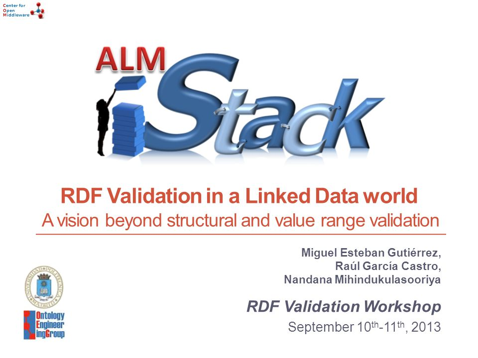 Center for Open Middleware Center for Open Middleware RDF Validation in a Linked Data world A vision beyond structural and value range validation Miguel Esteban Gutiérrez, Raúl García Castro, Nandana Mihindukulasooriya RDF Validation Workshop September 10 th -11 th, 2013