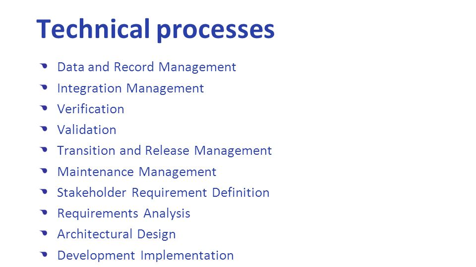 Data and Record Management Integration Management Verification Validation Transition and Release Management Maintenance Management Stakeholder Requirement Definition Requirements Analysis Architectural Design Development Implementation Technical processes