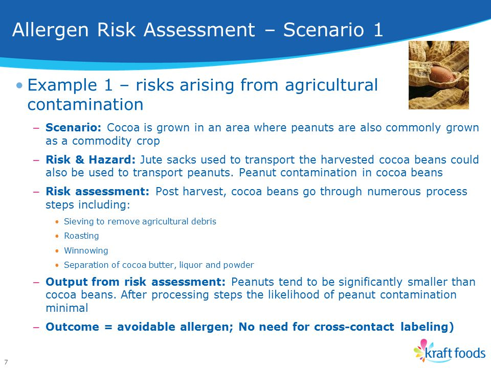 7 Example 1 – risks arising from agricultural contamination – Scenario: Cocoa is grown in an area where peanuts are also commonly grown as a commodity crop – Risk & Hazard: Jute sacks used to transport the harvested cocoa beans could also be used to transport peanuts.