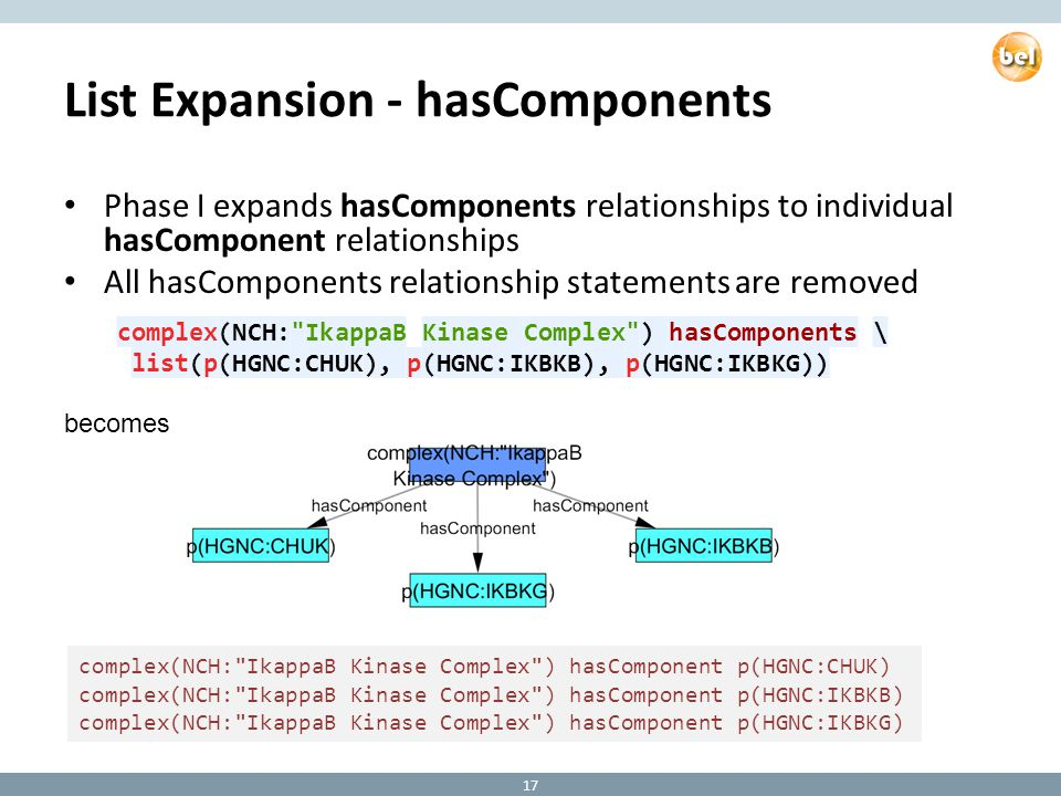 List Expansion - hasComponents Phase I expands hasComponents relationships to individual hasComponent relationships All hasComponents relationship statements are removed 17 complex(NCH: IkappaB Kinase Complex ) hasComponent p(HGNC:CHUK) complex(NCH: IkappaB Kinase Complex ) hasComponent p(HGNC:IKBKB) complex(NCH: IkappaB Kinase Complex ) hasComponent p(HGNC:IKBKG) becomes complex(NCH: IkappaB Kinase Complex ) hasComponents \ list(p(HGNC:CHUK), p(HGNC:IKBKB), p(HGNC:IKBKG))