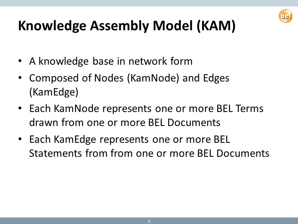 Knowledge Assembly Model (KAM) A knowledge base in network form Composed of Nodes (KamNode) and Edges (KamEdge) Each KamNode represents one or more BEL Terms drawn from one or more BEL Documents Each KamEdge represents one or more BEL Statements from from one or more BEL Documents 5