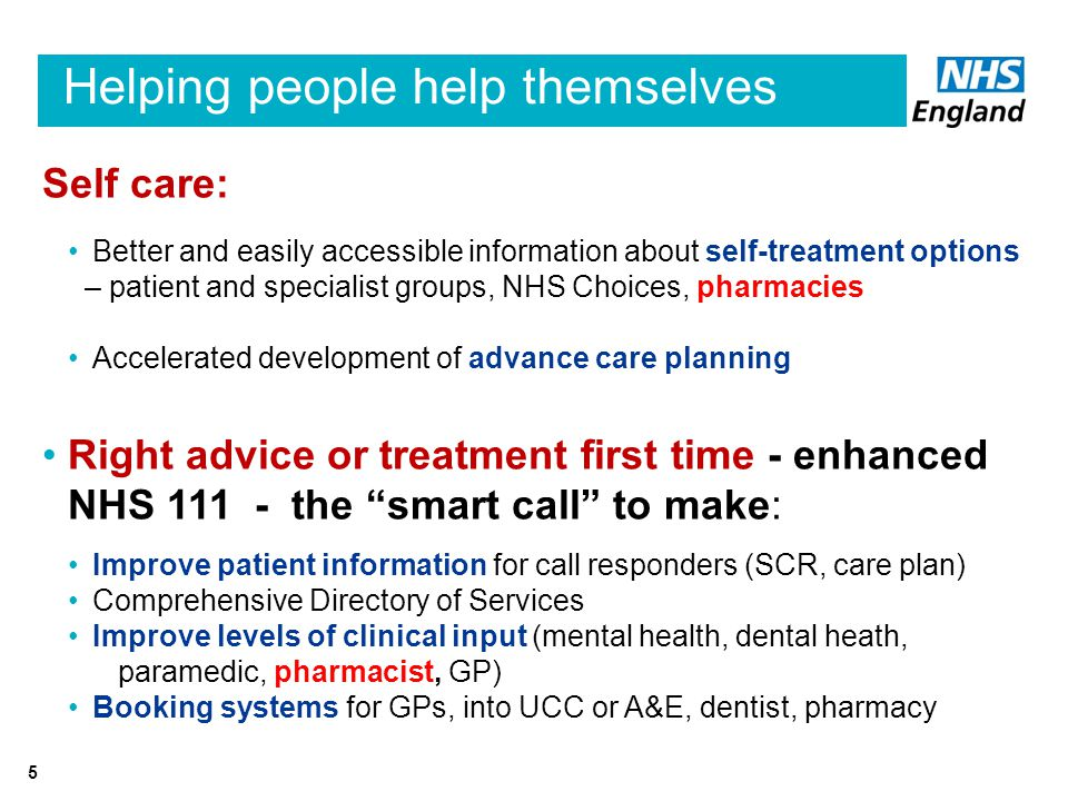 Helping people help themselves Self care: Better and easily accessible information about self-treatment options – patient and specialist groups, NHS Choices, pharmacies Accelerated development of advance care planning Right advice or treatment first time - enhanced NHS the smart call to make: Improve patient information for call responders (SCR, care plan) Comprehensive Directory of Services Improve levels of clinical input (mental health, dental heath, paramedic, pharmacist, GP) Booking systems for GPs, into UCC or A&E, dentist, pharmacy 5