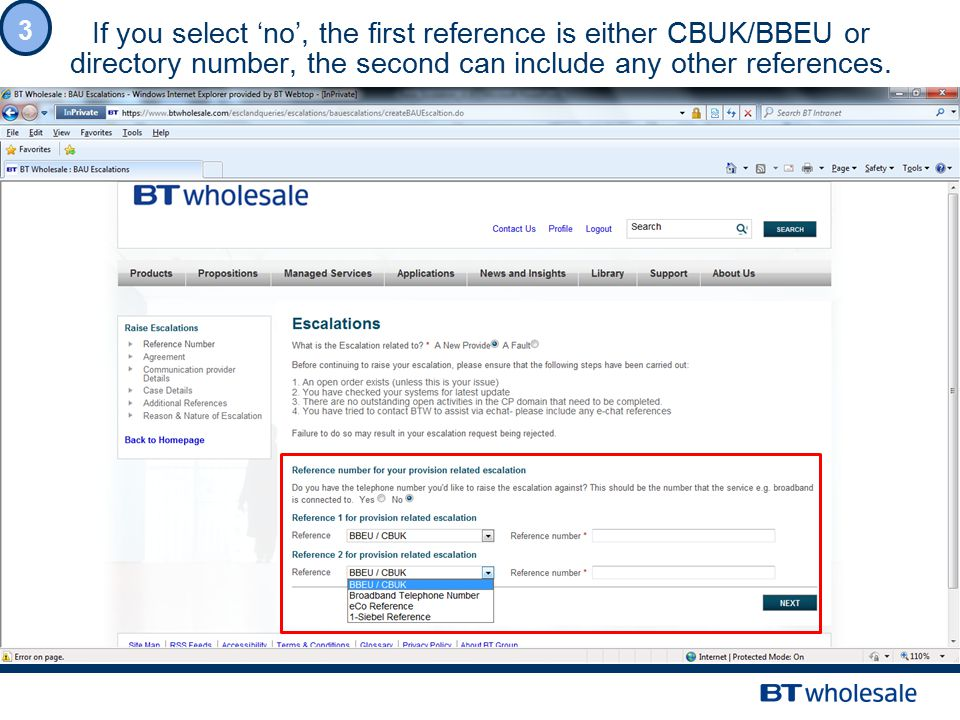 If you select 'no', the first reference is either CBUK/BBEU or directory number, the second can include any other references.