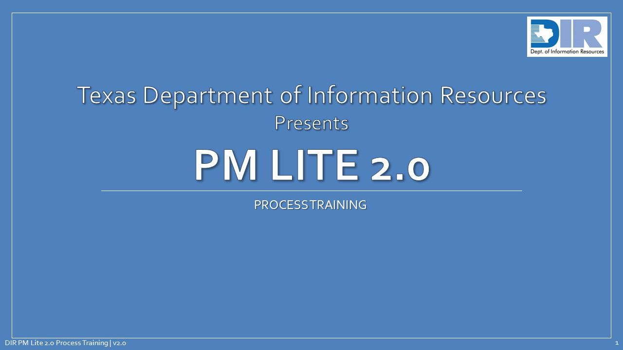 *Also available in Excel format. 12 DIR PM Lite 2.0 Process Training | v2.0